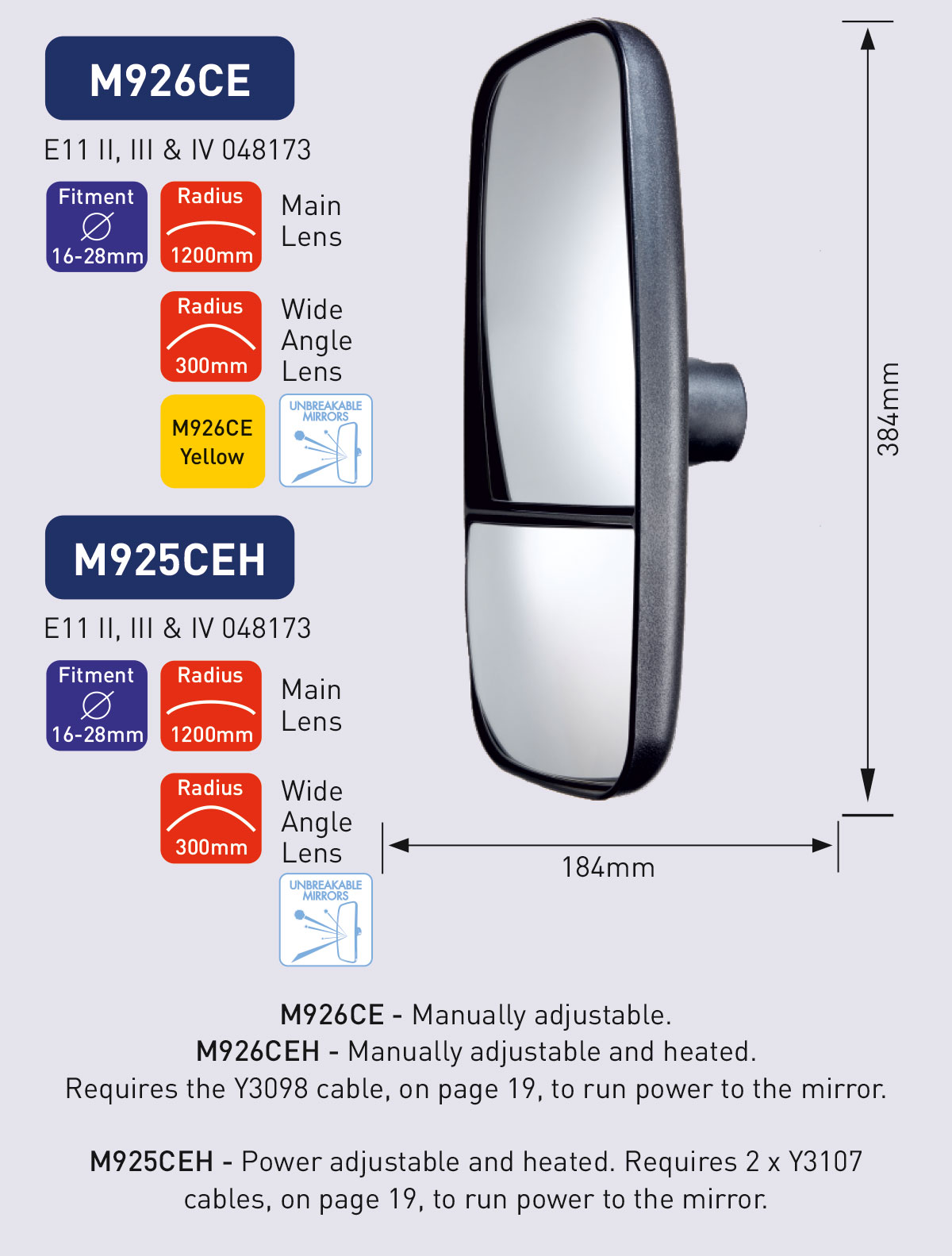 M926CE M925CEH powered mirror